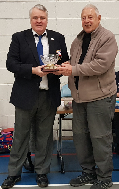 Bob Parker (left) being presented with the Dough Crane trophy for 2019