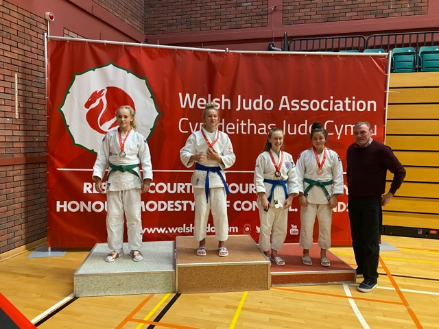 Ella Hampson on podium at 2019 Welsh Cadet and pre-cadet